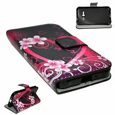 Heart Purple Leather Wallet Cover Flip Phone Case For Samsung Galaxy J1 ACE