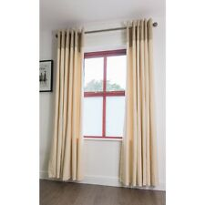 """FULLY LINED COTTON RING TOP CURTAINS NATURAL/CREAM WITH A CHENILLE CUFF 66""""x72"""""""