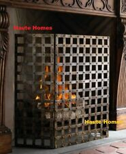 NEW Horchow FRENCH 3 Panel ANTIQUE WOVEN BRASS NAIL HEAD IRON Fireplace Screen