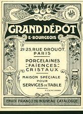 """Publicité Ancienne """" Grand Dépôt E. Bourgeois  1926 ( P 38 ) Issu de Magazine"""