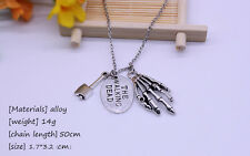 The Walking Dead Unique Charm Axe Hand Skull Pendant Necklace Top Sale Gift