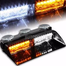 16 LED White Amber 18W Windshield Emergency Flash Strobe Light Interior Dash