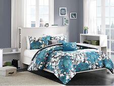 5pc Full / Queen Comforter Set Floral Microfiber Bedding Blue / Teal / Grey