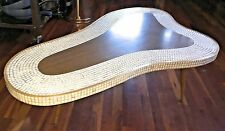 Vintage 1950s 50s MCM White Gold Tile Atomic Amoeba Kidney Coffee Table