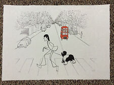 Al Hirschfeld Hand Signed THE BEATLES Paul McCartney Lithograph John Lennon COA