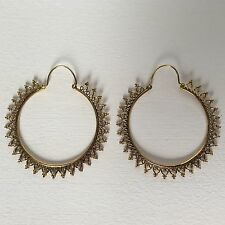 Large Tribal Brass Hoop Earrings Antique Filigree Boho Ethnic Asian Gypsy