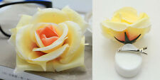 Romantic Silk Rose Hair Accessory Flower Hairpin Hair Clip For Prom Champagne