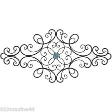 "NEW! Large 33"" Black Metal Scroll Wall Decor with Interchangeable Flower.On Sale"