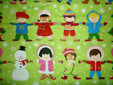 CLEARANCE FQ YOU AND ME CHILDREN OF THE WORLD CHRISTMAS WINTER SNOWMAN FABRIC