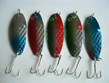 """5 NEW Assorted Spoon Metal Fishing Lure Bait Lot 2.5"""" jig lures hooks"""
