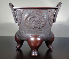 ANTIQUE ASIAN JAPANESE BRONZE CENSER BIRD DRAGON INCENSE BURNER URN VASE CHINESE