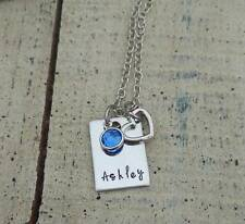 Hand stamped Name Birthstone bar Pendant Charms Necklace Personalized Mother