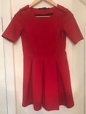 Zara Red Pleated Skater Dress UK Size XS