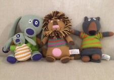 Latitude Enfant Knit Baby Toy Lot Puppy Dog Lion Plush Stuffed