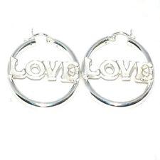 New Pair of 925 Sterling  LOVE word Silver Hoop Earrings