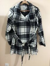 Ava & Viv Black and White Coat 2X Button Front Belted Long Sleeves Lined Plaid