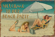 Pinup Girls Vintage Metal Sign Welcome to our Beach Party Poster Wall Art 12x18