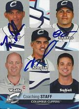 Rouglas Odor Tony Arnold Omir Santos 2015 Columbus Clippers Signed Card