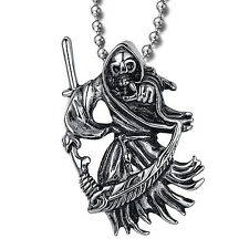 MENDINO Men's Stainless Steel Pendant Necklace Grim Reaper Death Skull Scythe
