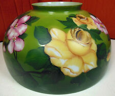 """Vintage Or Antique 14"""" Hand Painted Roses Hanging Oil Lamp Milk Glass Shade"""