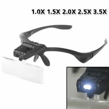 Fashion 5 Lens Head Band Magnifier Glass Visor 2-LED Light Magnifying Loupe V2