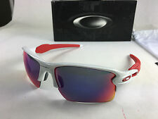 NEW OAKLEY FLAK JACKET 2.0 XL OO9188-21 POLISHED WHITE POSITIVE RED IRIDIUM NIB