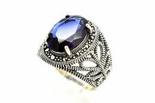 MODERN BLUE SAPPHIRE MARCASITE STERLING SILVER TURKISH OTTOMAN JEWELRY RING 8.75