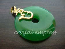FENG SHUI - JADE DISC PENDANT WITH HUM SYMBOL (GOLD PLATED)