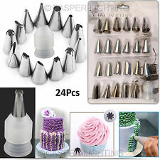 24Pcs Cake Decorating Nozzles Tips Set Pastry Cupcake Sugarcraft Icing Piping UK