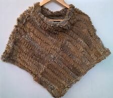 beige tan brown real genuine rabbit fur hand knitted poncho cape shawl scarf top