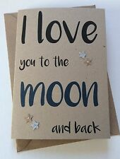 Handmade Personalised Valentines Card: Love You To The Moon And Back