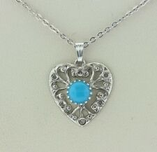 Sterling Silver 925 Turquoise Enamel Cabochon Filigree Heart Charm Pendant