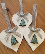 3 X Handmade Christmas Decorations Shabby Chic Wood Heart Tree Bows Silver Blue