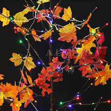 Lighted Autumn Leaf Harvest Fall Leaves Garland Lights String Christmas Decor