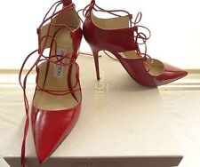 JIMMY CHOO 'HOOPS 100' RED SHINY LEATHER SEXY SHOES SIZE 36