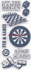 TPC Studio GAME NIGHT Rubber Cling Stamps Dart Board, Chess, Dice, Dominos