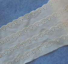 4 Yards 7'' Wide Eyelet Cotton Lace Trim Off White b0060