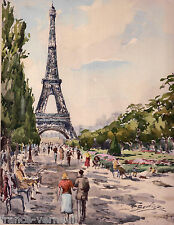 Lithographie French Lithography Vue de Paris Tour Eiffel Aquarelle Gouache