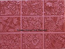 9 ATC Unmounted Rubber Stamps Deep Etched Collage Designs for Clay & Paper Craft