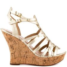 """NEW $110 Guess BILBERY Gold Strappy Wedge Sandals 1"""" Platform 4.5"""" Heel 8.5M"""
