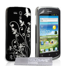 Accessories For The Huawei Ascend G300 Black Butterfly Floral Hard Case Cover