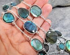 "925 Silver Cut FIRE LABRADORITE Station Necklace 41"" N449~Silverwave*uk"
