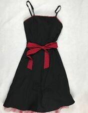 HOT TOPIC MORBID Belted THREADS BLACK RED TULL TRIM DRESS ROCKABILLY GOTH XS A39