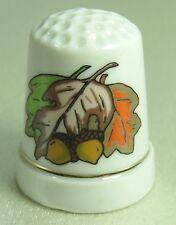Vintage Collectible Souvenir Thimble AUTUMN LEAVES & NUTS Porcelain