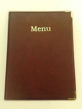 TOP QUALITY A4 MENU FOLDERS IN BURGUNDY LEATHER LOOK PVC WITH GUILT CORNERS