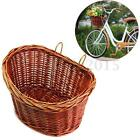 Trendy Style Wicker Bicycle Basket Bike Dogs Pets Shopping With Metal Plates