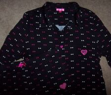 NWT Betsey Johnson Black/Pink/White BOWS Pajamas SHORTS/Top Set M $55 HEART LACE