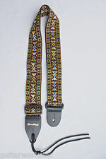 Guitar Strap U.S. Made 60'S Hootenanny Style Woven Nylon Thick Leather Ends
