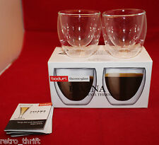 Bodum Double Wall Thermo Set of 2 Espresso Shot Glass Coffee Mug Cups 2oz Clear