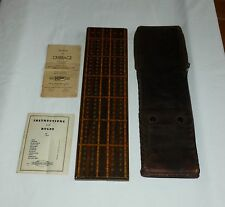 DRUEKE Cribbage Board Wood Inlay Leather Case Teranishi Metal Pegs,Rule Book #51